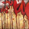 "Arev Petrosyan - ""Red Tulips"" - Mixed Media on Organic Glass - 150x200cm"