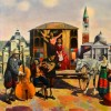 Musicians in the City - Oil on canvas - 80x90cm
