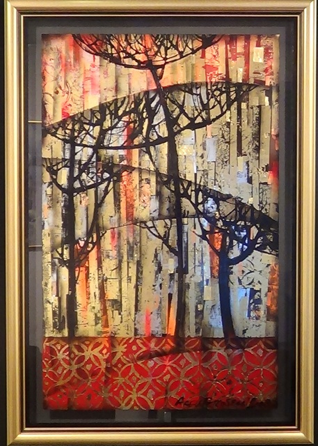 Arev Petrosyan - Sunrise - Plexiglas, gold leafs, mixed media - 150x100cm
